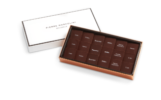 Plumier of 18 Saveurs du Monde Chocolates Pierre Marcolini