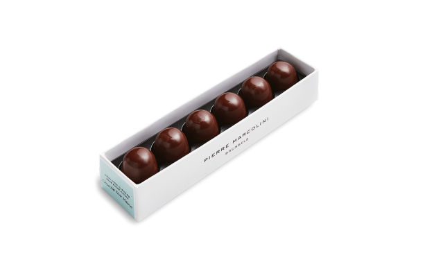 Ruler with 6 iced Dark Chocolate Pralines Pierre Marcolini