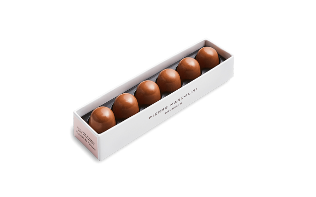 Ruler with 6 iced Hazelnut Pralines Pierre Marcolini