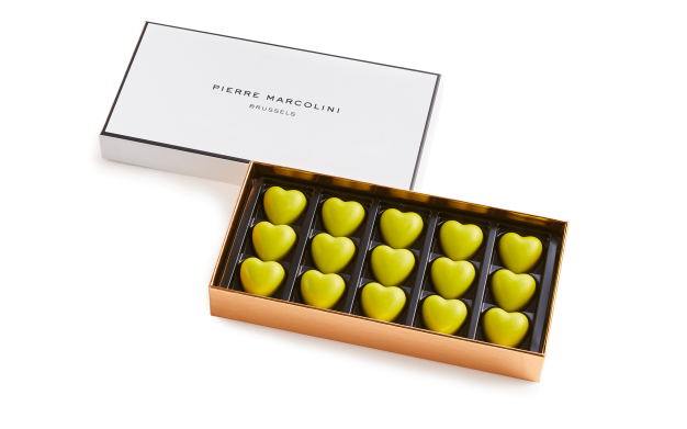 Box of 15 Hearts with Matcha Tea Pierre Marcolini
