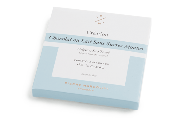 No added sugar milk chocolate tablet Pierre Marcolini Bean to bar